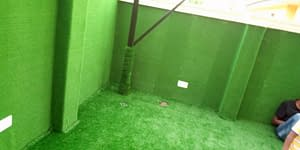 Artificial Grass Install On Compound Wall And Floor