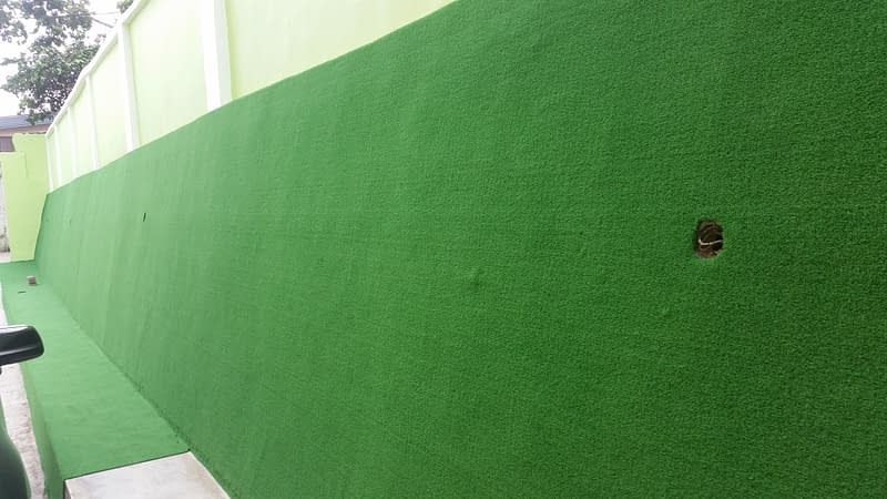 Decorating walls with artificial grass